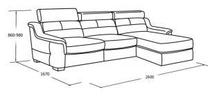 Угловой диван с оттоманкой и ящиком для белья