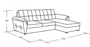 Угловой диван с оттоманкой, ящиком для белья и спальным местом