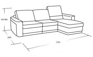 Трехместный диван с оттоманкой и ящиком для белья