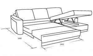 Трехместный диван с выкатным спальным местом, оттоманкой и ящиком для белья