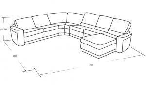 Угловой диван с выкатным спальны местом, оттоманкой и ящиком для белья