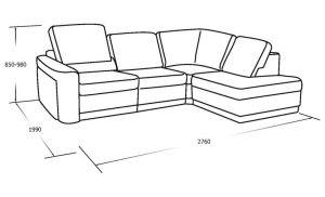 Угловой диван с выкатным спальны местом, пуфом и ящиком для белья