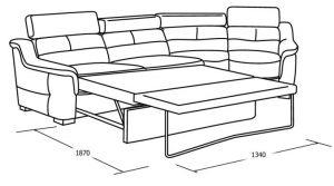 Закруглённый диван со спальным местом