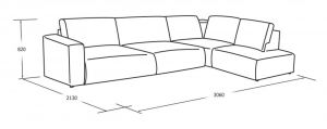 Угловой диван с укороченной оттоманкой