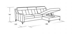 Угловой диван со спальны местом, оттоманкой и ящиком для белья
