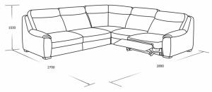 Угловой диван с механическим реклайнером