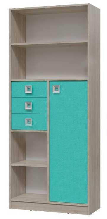 Шкаф стеллаж с дверкой и ящиками сити - город мебели.