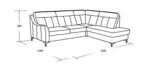 Угловой диван со спальны местом, пуфом и ящиком для белья
