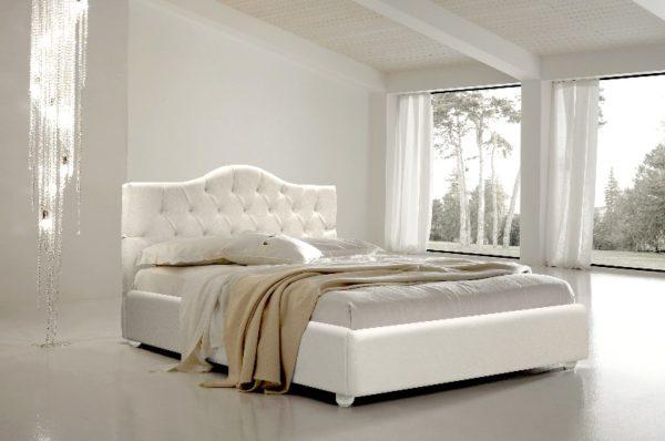 Кровать 2-х спальная Амели Мягкая (Белая)