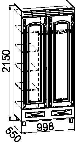 ЭМ-16 шкаф платяной с зеркалом