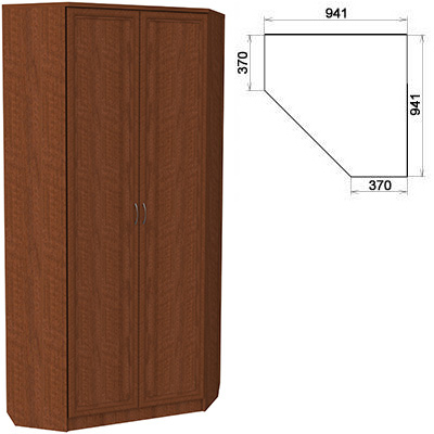 Шкаф угловой со штангой и полками Гарун 401