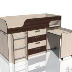 """Кровать с выкатным столом НМ 011.56 """"Рико"""" Дуб Тортона"""